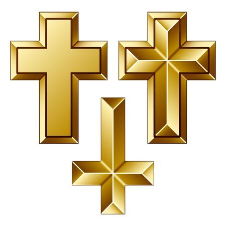 simbolos religiosos: vectoriales masivos de oro cristiano cruces