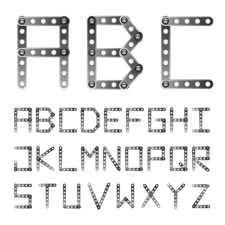 screwed: vector metal screwed alphabet font