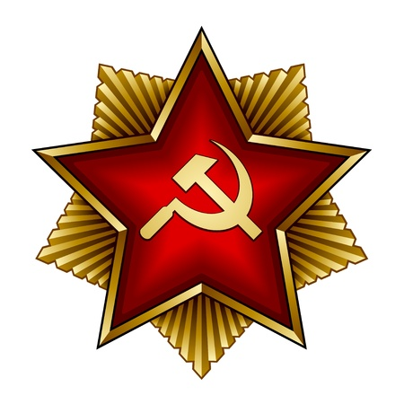 soviet union: vector golden soviet badge - red star sickle and hammer