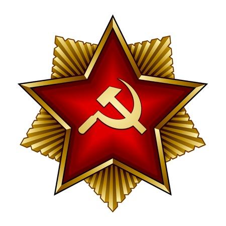 wektor złoty znaczek radziecki - czerwona gwiazda sierp i młot