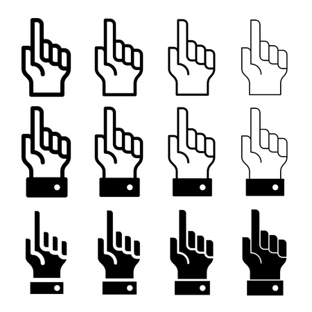 forefinger: vector hand with warning forefinger - easy change thickness line
