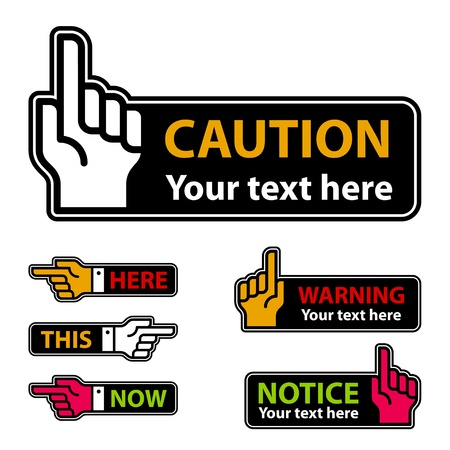 white pointer: vector warning forefinger and pointing hand labels