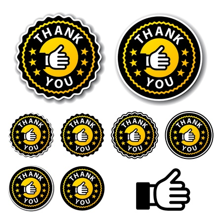 vector thank you circle labels Vector