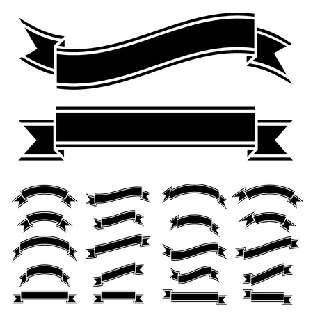 ruban noir: vecteur noir et blanc symboles du ruban Illustration