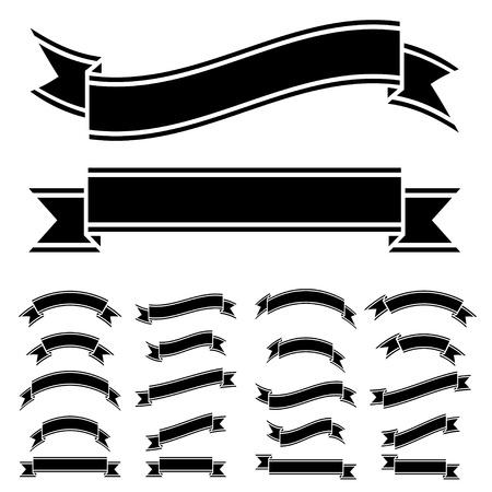 krökt: vektor svart och vitt band symboler