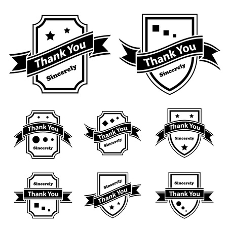 black bow: vector vintage thank you black and white labels
