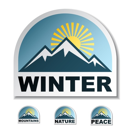 Winter blue mountain stickers Stock Vector - 12486198