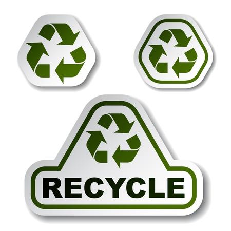 recycle reduce reuse: Reciclar pegatinas verdes de flecha