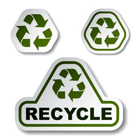 Recycle green arrow stickers Stock Vector - 12486210
