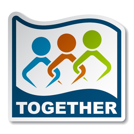 partnership icon: Together joined people sticker
