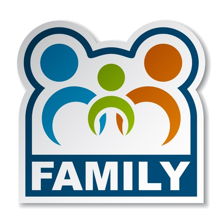 Family joined people sticker Stock Vector - 12486196