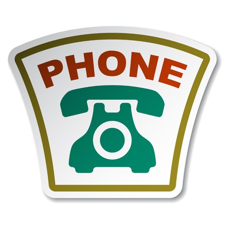 Old phone sticker Stock Vector - 12485583