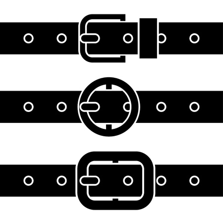 leather belt: Buckle belt black symbols