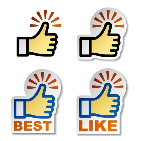 Thumb up hand stickers Stock Vector - 12486558