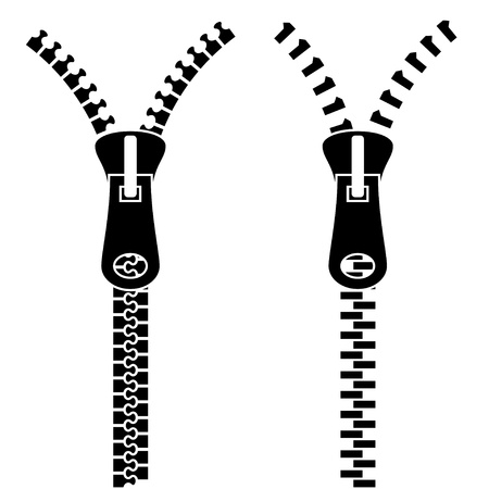 unzip: Zipper black symbols Illustration