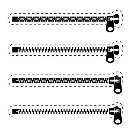 metal fastener: Zipper black symbols Illustration