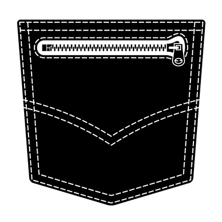 Zipper jeans pocket black symbol Vector