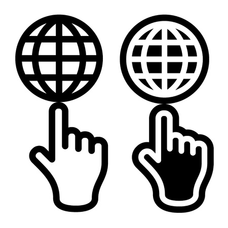 globe grid: Hand and globe black symbol