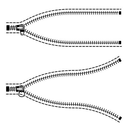 Zipper black symbols Vector
