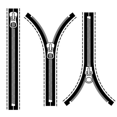 zip: Zipper black symbols Illustration