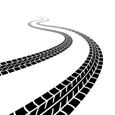 snow tires: Winding trace of the tyres Illustration