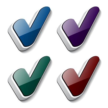 Vector 3d checkmark symbols Vector