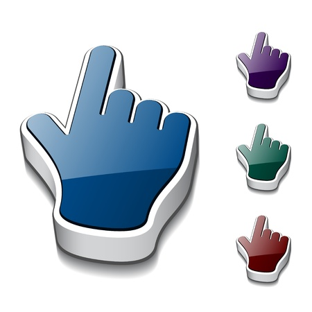 computer mouse icon: vector 3d hand cursors