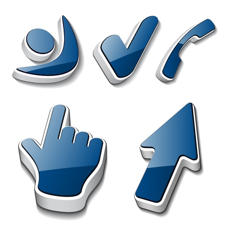 white pointer: vector 3d symbols human checkmark phone cursor Illustration