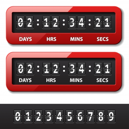 countdown: vector red mechanical counter - countdown timer