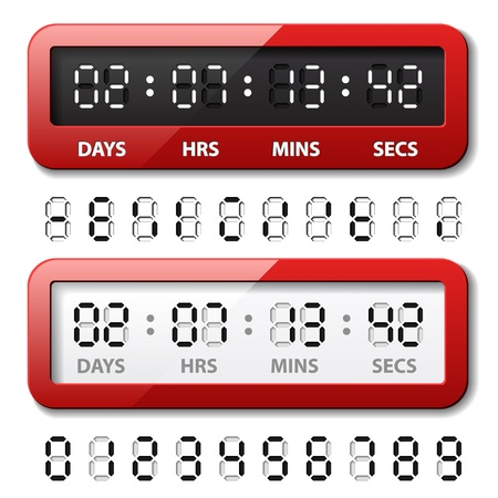 digital indicator: vector red mechanical counter - countdown timer