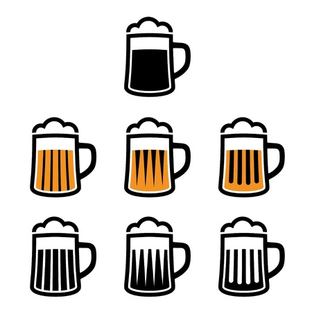 cups silhouette: vector beer mug symbols Illustration