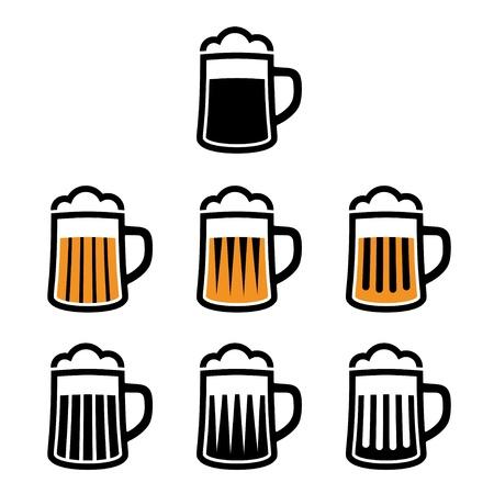 schwarzbier: Vektor-Bierkrug Symbole