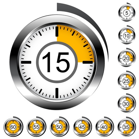 stopwatch: Vector chrome round timers