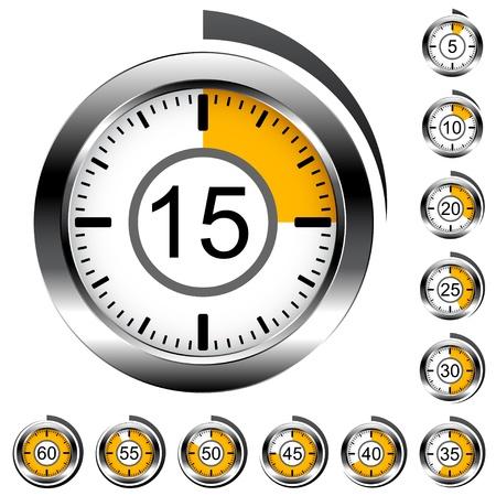 Wektorowe chromowane zegary okrągłe
