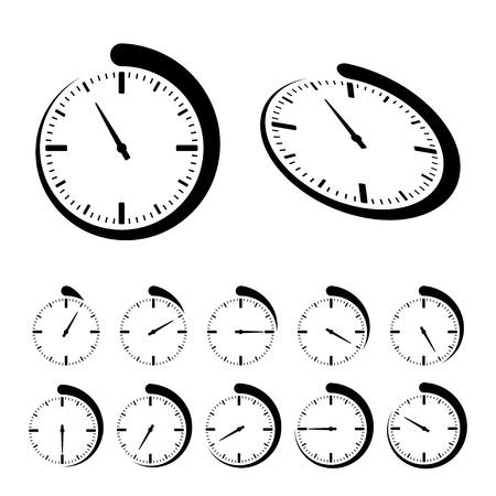 cronometro: Vector iconos redondos y negros del temporizador Vectores