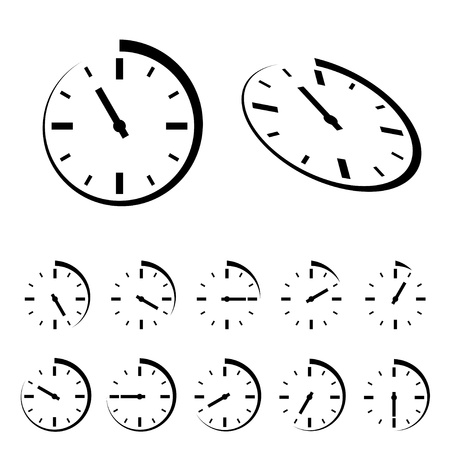 stop time: Vector round black timer icons