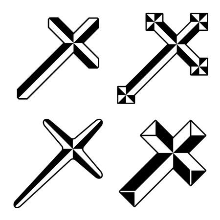 religious cross: vector black christian crosses Illustration