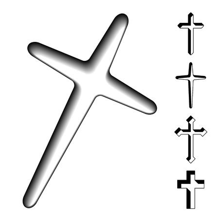vector black christian crosses Illustration
