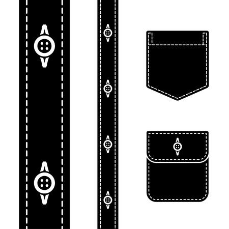 vector shirt button pocket black silhouette Stock Vector - 13540296