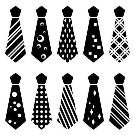 stropdas: vector stropdas zwarte silhouetten Stock Illustratie