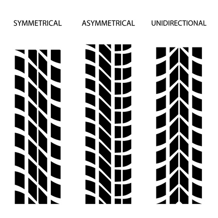 traction: vector tyre symmetrical asymmetrical unidirectional Illustration