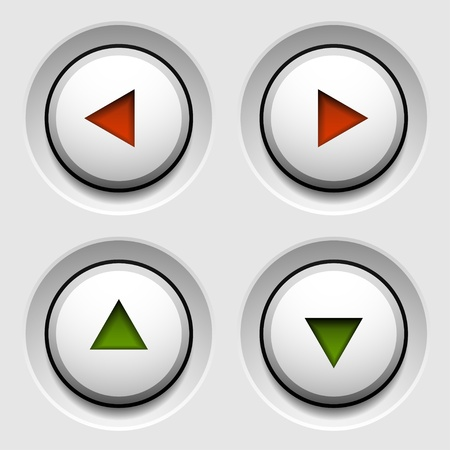 push up: vector arrow white circle buttons