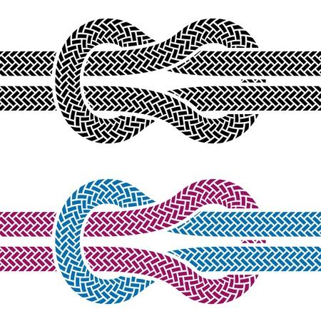 fixed line: vector climbing rope knot symbols