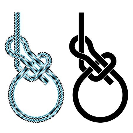 vector bowline loop climbing rope knot symbols Vector