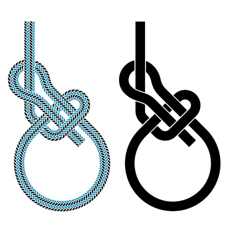 pulling rope: vector bowline loop climbing rope knot symbols