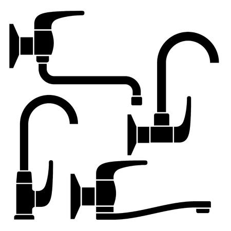 vector water tap black symbols Stock Vector - 13540291