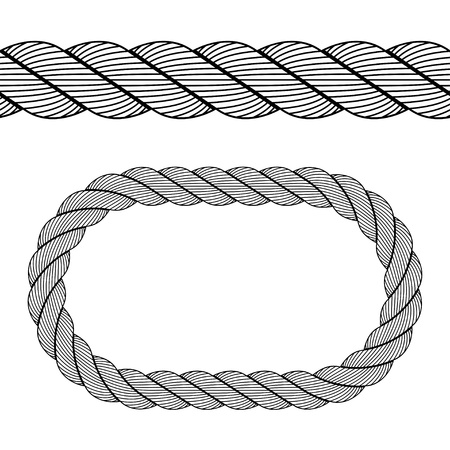 marine industry: vector seamless black rope symbol