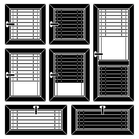 plastic window: vector venetian blind window black symbols