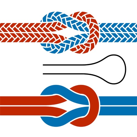 pulling rope: vector climbing rope knot symbols