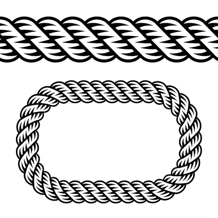 border line: vector seamless black rope symbol